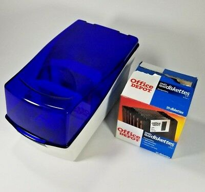 "Box of 26, 3.5"" Floppy disks with Fellowes Blue Floppy Disk Storage Case 3.5"