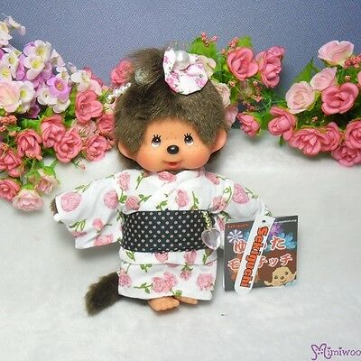 Monchhichi S Size Plush Japanese Summer Rose Flower Yukata Girl Doll ~ FREE SHIP