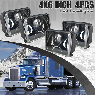 "4PCS 4x6"" LED Headlights Fit Kenworth T400 T600 T800 W900L W900B Classic 120/132"