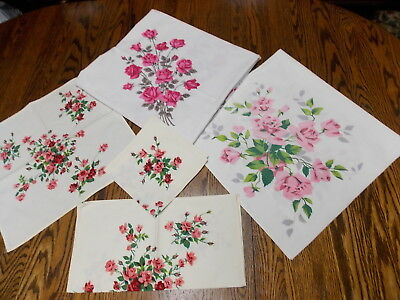 Vintage Wilendur Pink Roses ~ Two Tablecloths  ~ 3 Napkins Lot