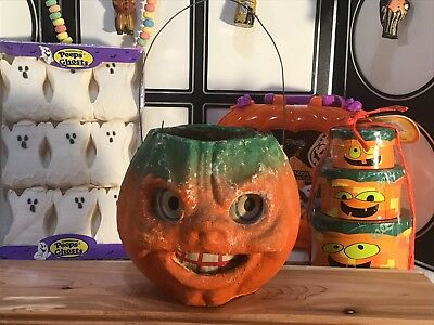 Rare Vintage Molded Pulp Jack-O-Lantern With Complete Eyes And Mouth
