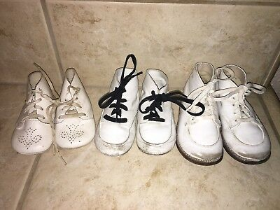 Lot of 3 White Vintage Baby Shoes Toddletime Topps Tiny T & Kinney Kids