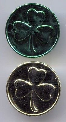 One Gold and One Green Shamrock Coins - Saint Patrick's Day - Luck of the Irish