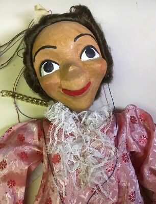 Antique /Vintage Folk Art Maiden wooden Puppet Marionette