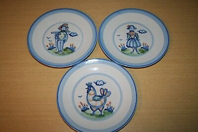 "3 M A Hadley Country Scene Blue 9 1/4"" Lunch Plates Farmer, Girl, & Chicken"