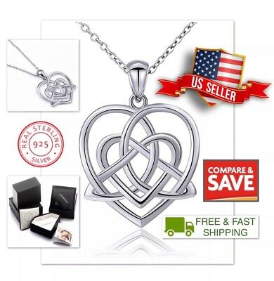 """Celtic Knot Heart Triangle Irish Good Luck Pendant 18"""" Necklace Sterling Silver"""