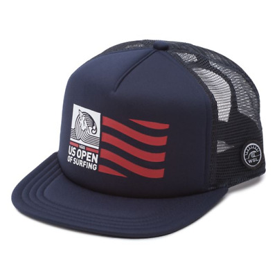 d192437487c Vans 2018 US OPEN of SURFING Hat (NEW) Snapback Trucker Cap VUSO Flag NAVY
