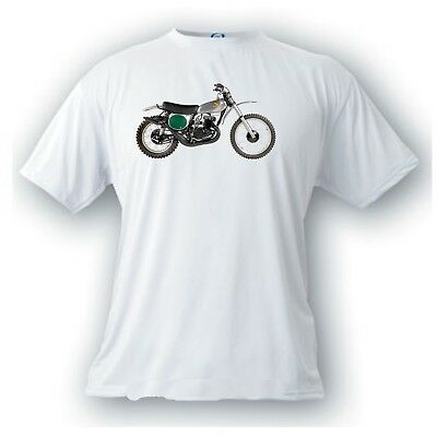 Honda elsinore CR 250M  motocross motorcycle 1973 vintage image T-shirt green