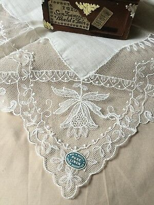 Vintage Madeira Linen Wedding Hanky Elaborate Embroidery Hand Made Needle Lace