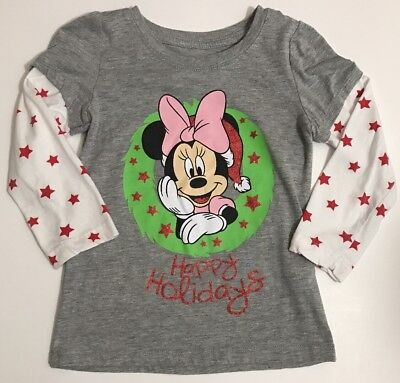 Disney Minnie Mouse Girls 5T Grey Red White Long Sleeve Christmas Holiday Shirt