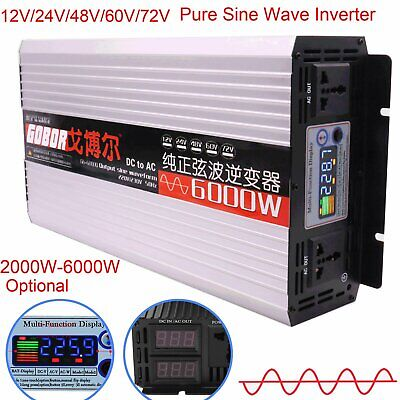 Intelligent Pure Sine Wave Inverter DC 12V 24V 48V 60V 72V to AC 110V 2000-6000W
