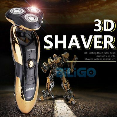 Hot 3D Men's Rotary Rechargeable Washable Cordless Electric Shaver Razor【AU】