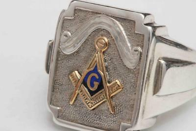 c.1960s vintage Sterling Silver & 10K Gold Masonic Ring - Excellent Condition