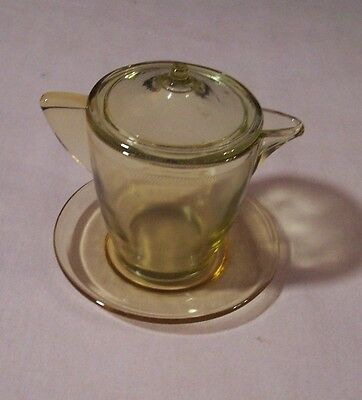 RARE CHARTREUSE Akro Agate Children's Set Teapot & Plate with Spout in Amber