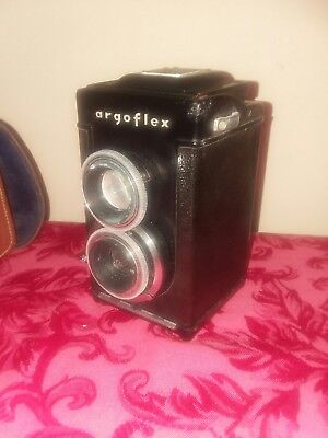vintage ARGUS dual lens camera ARGOFLEX w/ leather case