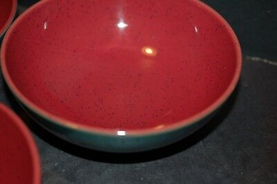 Denby Harlequin Soup Bowl Green With Red Interior