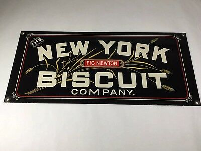 Vintage New York Fig Newton Biscuit Company Metal Steal Sign