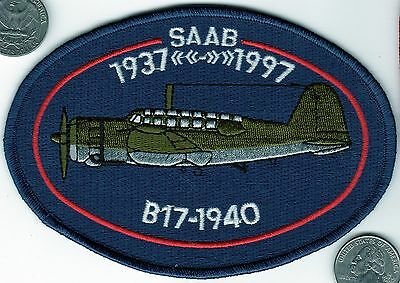 Airport Air Force Sweden Saab  B17 1940 Aircraft 1937-1997 60 Year Patch wings