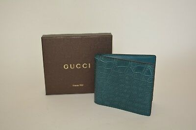 237296b3299 GUCCI GREEN CROCODILE Leather Loafers with Gold Horsebit 307929 2403 ...
