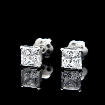1CT Princess Cut Created Diamond Square Stud Screw-back Earrings 14K White Gold