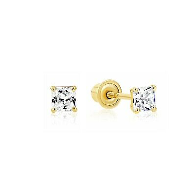 1/2 Carat Princess Cut Diamond Studs Earrings Real 14K Yellow Gold Screw back