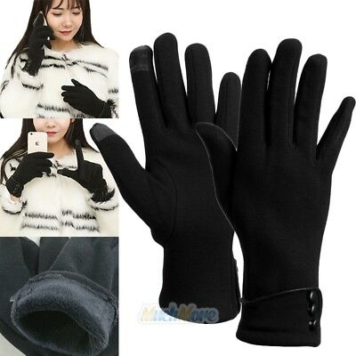 Winter Thick Soft Cashmere Touch Screen Fleece Gloves For Women Ladies Black