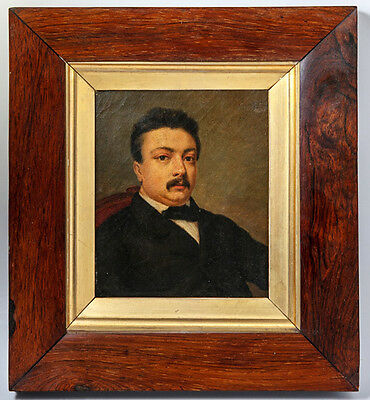 Antique Victorian Portrait in Oil, Miniature or Small in Size, Burled Wood Frame