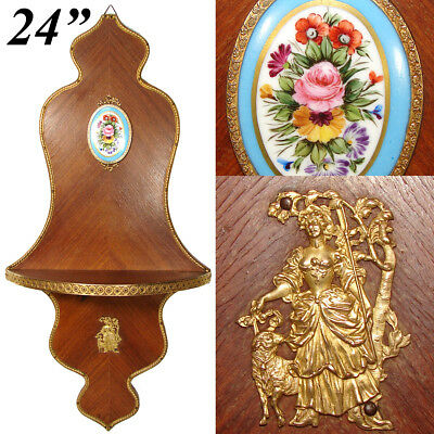 """Antique French Empire Style 24.5"""" Wall Shelf, Kingwood & Gilt Ormolu with Sevres"""