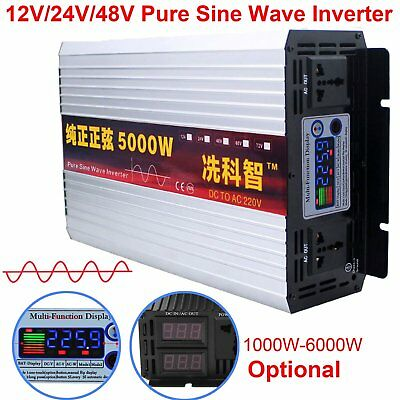 2000-6000W intelligent Pure Sine Wave Power Inverter DC12V24V48V to AC 110V/220V