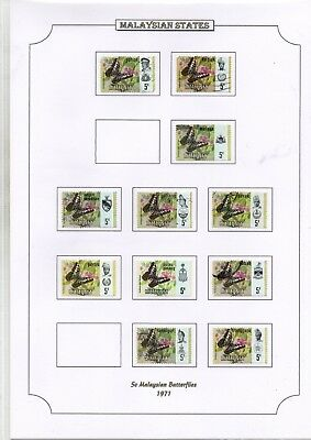1971 Malaysian States 5C Butterflies Stamps On Page From Collection Rf1