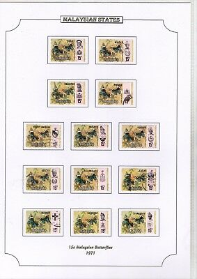 1971 Malaysian States 15C Butterflies Stamps On Page From Collection Rf1