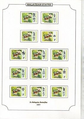 1971 Malaysian States 2C Butterflies Stamps On Page From Collection Rf1