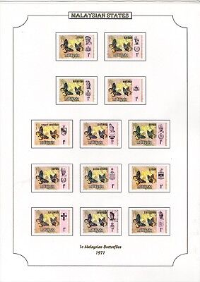 1971 Malaysian States 1C Butterflies Stamps On Page From Collection Rf1