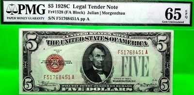 Money Us $5 1928 C Legal Tender Note Pmg Gem Unc Fr # 1528 Value $380 Rare