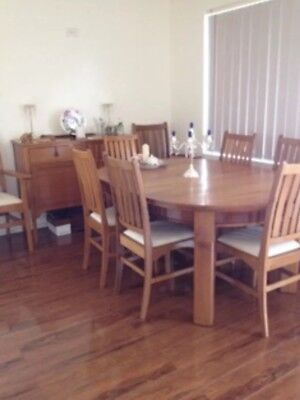100 Years Old 6 Or 8 Silky Oak Beard Watson Dining Chairs And Oak Table