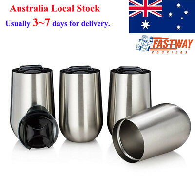 Set of 4 Double Walled Insulated Stainless Steel Stemless Wine Glasses 500ml Mug