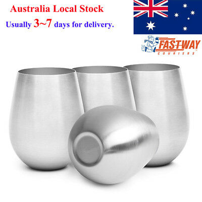 Set of 2 500ml Stainless Steel Stemless Wine Glasses Dishwasher Safe BPA Free