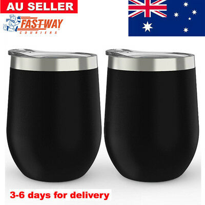 2 Pack 350ml Stainless Steel Stemless Wine Glass Tumbler Double Wall Vacuum Cups