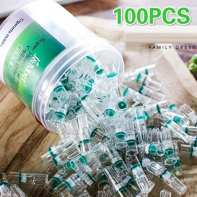 100Pcs Disposable Tobacco Cigarette Filter Holder Reduce Tar for 6mm/8mm Smoke