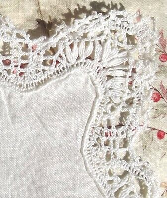 Four Pretty Vintage White linen Square Handkerchief Hand worked Monograms lace