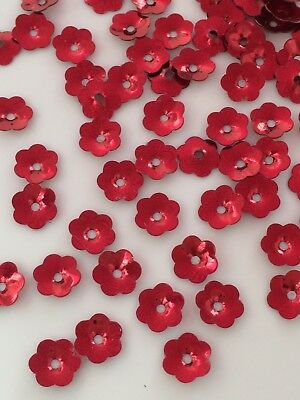 Sequins 6mm Christmas Red Metallic Flower Demi Cup Choose Pack Size