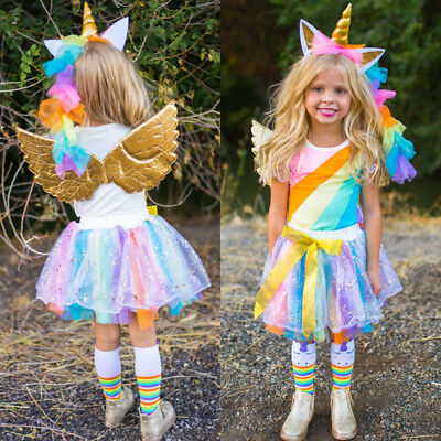 AU Newborn Kids Baby Girls Rainbow Tops Tulle Skirt Dress Tutu Outfits Clothes