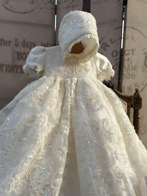 White Ivory Vintage Toddler Christening Outfits Baptism Dress Gown Sequin Bonnet