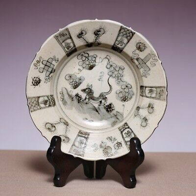 Chinese Porcelain Ming dynasty XuanDe Old Plate Flower Animal Pattern Dish JZ479