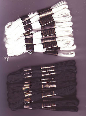 12 x Skeins Embroidery Cross Stitch Threads Floss Cottons - Black OR White
