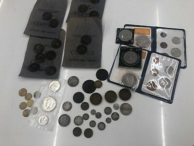 Mix of Old, Rare and Interesting World Coins including SILVER coins  - Lot 412