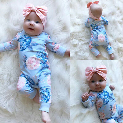 AU Newborn Baby Girls Flower Romper Bodysuit Jumpsuit Outfits Clothes Playsuit