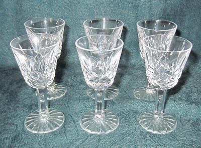 """6 x Waterford Cut Crystal Lismore Pattern Small Liqueur Cordial Glasses 3&1/2"""""""