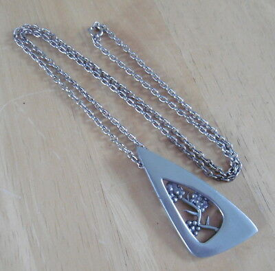 Vintage Scottish Pewter Bramble Pendant On Chain By Ceard (FREE UK P&P)