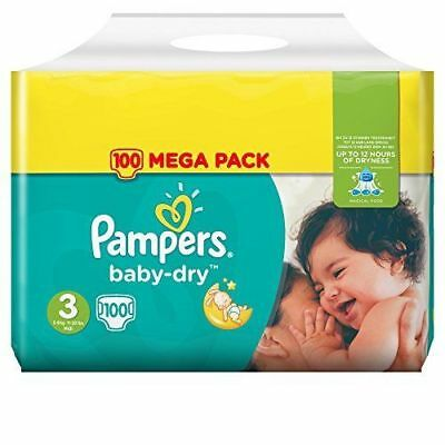 LOT DE 100 COUCHES PAMPERS BABY-DRY TAILLE 3 MEGA PACK 5-9 kg NEUVES